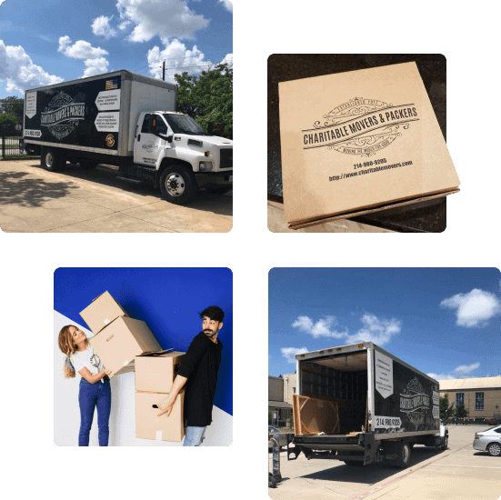 Photo gallery: Charitable Mover & Packers moving truck, Charitable Mover & Packers logo, moving boxes, and Charitable Mover & Packers open truck