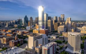 Dallas Texas skyline where Charitable Movers provides moving services.